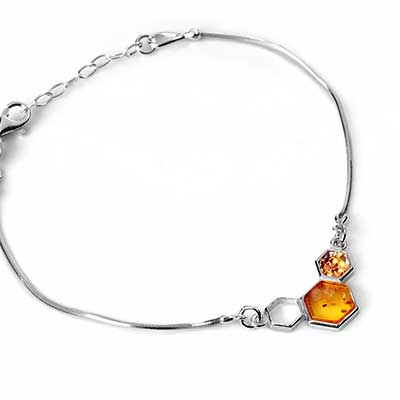Silver and Amber Honeycomb Bracelet