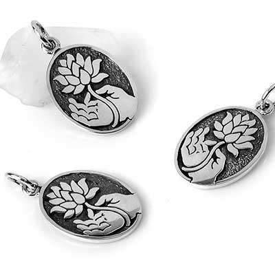 Silver Hand of Buddha Pendant