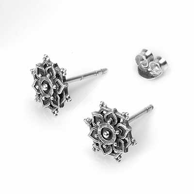 Silver Mandala Stud Earrings