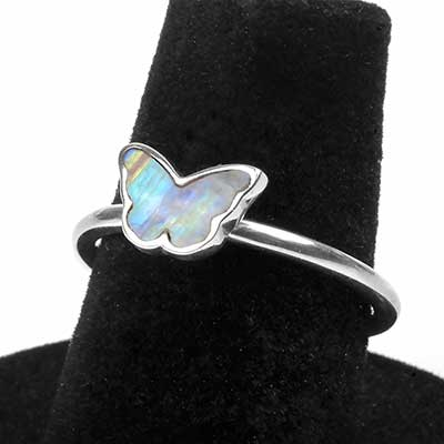 Silver Rainbow Moonstone Butterfly Ring