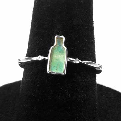 Silver Rainbow Moonstone Bottle Ring