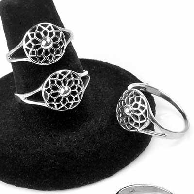Silver Woven Mandala Ring