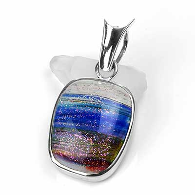 Silver and Rainbow Glass Pendant