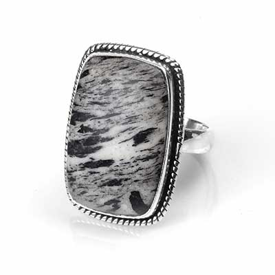 Silver and Hornblende Ring