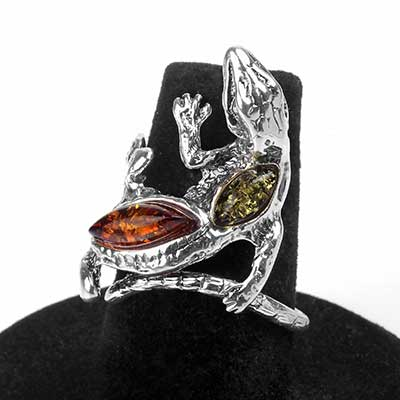 Silver and Amber Adjustable Salamander Ring