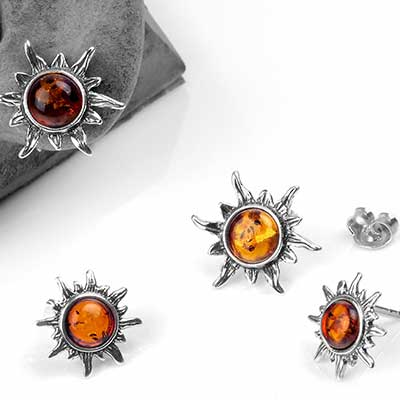 Silver and Amber Sun Stud Earrings
