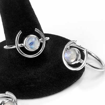Silver and Rainbow Moonstone Halo Ring
