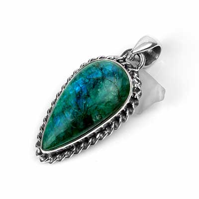 Silver and Green Rainbow Moonstone Pendant