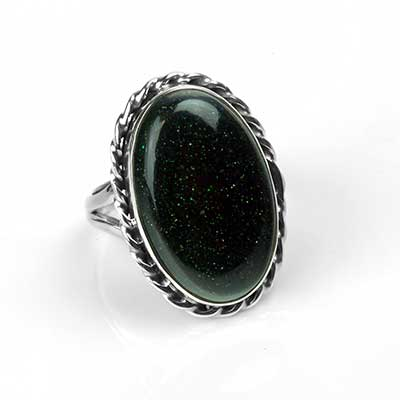 Silver and Green Goldstone Ring