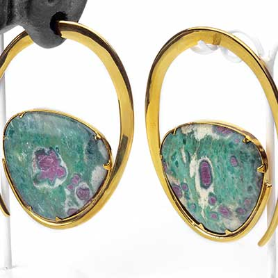 Solid Brass Ellipse Weights with Ruby and Fuchsite
