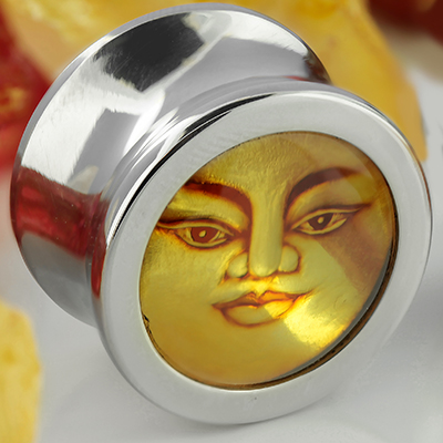 Steel Eyelets with Amber Face Inlays