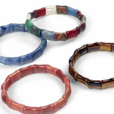 Rectangular Stone Bead Bracelet