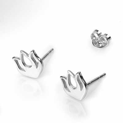 Silver Lotus Bud Stud Earrings