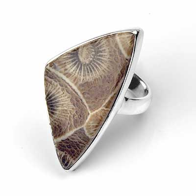 Silver and Fossilized Coral Ring