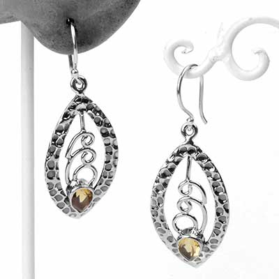 Silver and Citrine Textured Earrings