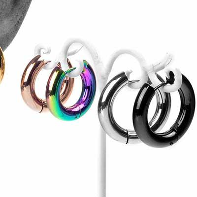 Steel Huggie Hoop Earring