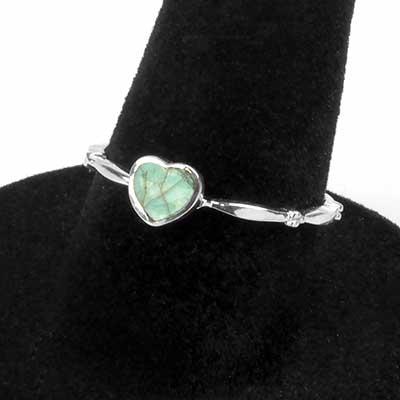 Silver Labradorite Heart Ring
