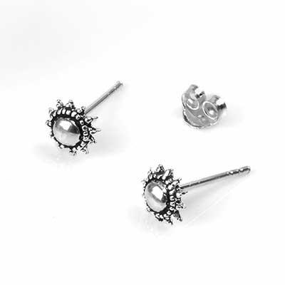 Silver Beaded Sun Stud Earrings