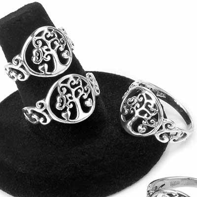 Silver Swirl Tree Ring