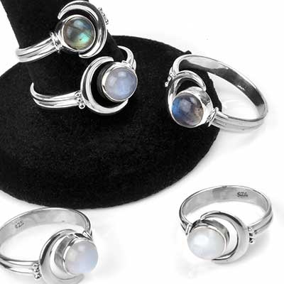 Silver and Stone Adjustable Moon Ring