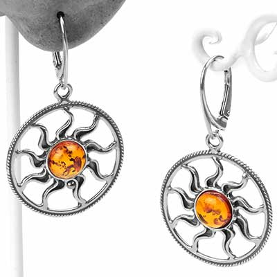 Silver and Amber Sun Dangle Earrings