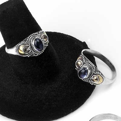 Silver and Iolite Echo Ring