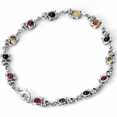 Silver and Amber Elephants on Parade Bracelet