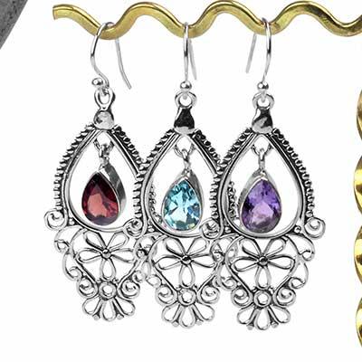 Silver and Gemstone Spring Bloom Earrings