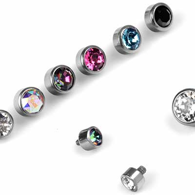 Internally Threaded Titanium Bezel Set Gem End