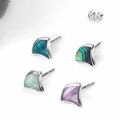 Silver Ginkgo Stud Earrings