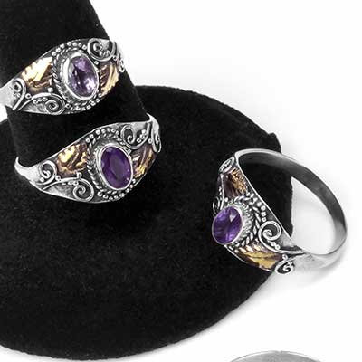Silver and Amethyst Ivy Ring