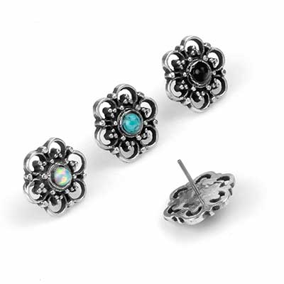Silver and Stone Beaded Blossom Threadless Ends