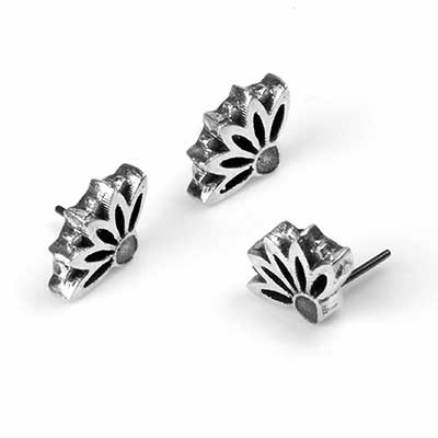 Silver Lotus Crown Threadless Ends