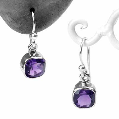 Silver and Amethyst Dangle Earrings