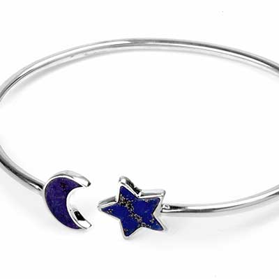 Silver and Lapis Lazuli Moon and Star Bracelet