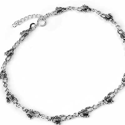Silver Scorpion Anklet