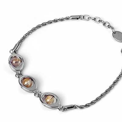 Steel and Rutilated Quartz Bracelet