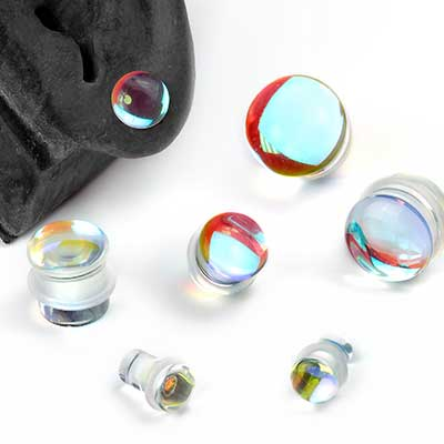 Single Flare Glass Polaris Plugs