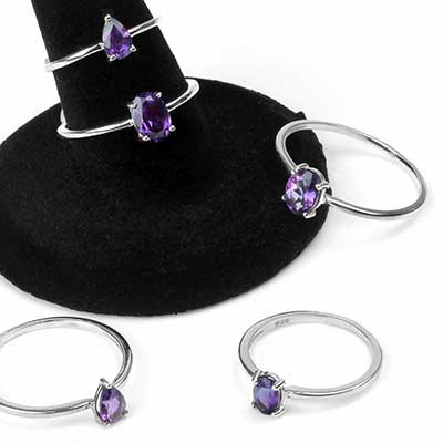 Silver and Amethyst Gemstone Ring