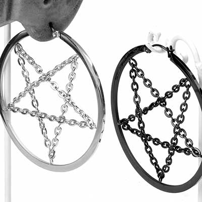 Chained Pentagram Earrings