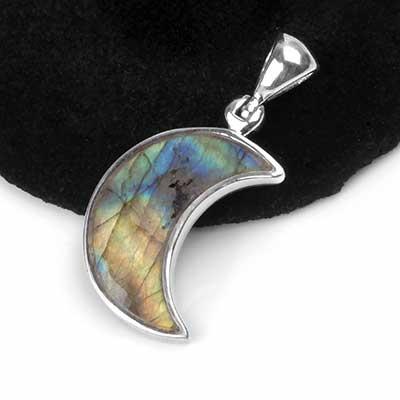 Silver and Labradorite Moon Pendant