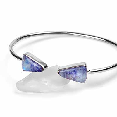 Silver and Blue Rainbow Moonstone Bracelet