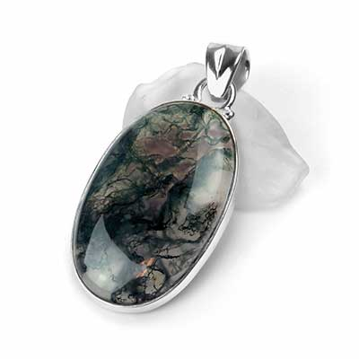 Silver and Moss Agate Oval Pendant