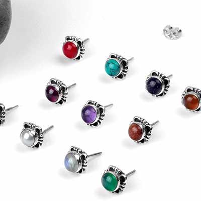 Silver Framed Stone Stud Earrings