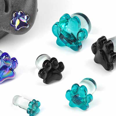 Single Flare Glass Paw Print Plugs
