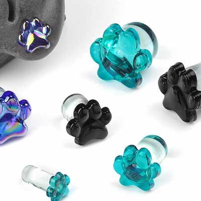 Single Flare Glass Paw Print Plugs