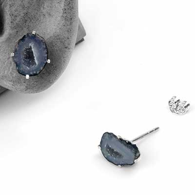 Geode Druzy Slice Stud Earrings
