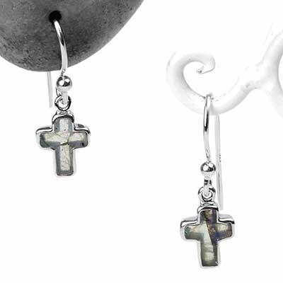 Silver and Labradorite Cross Dangle Earrings