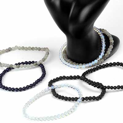 Dainty Round Stone and Glass Bead Bracelet