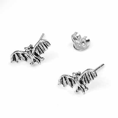 Silver Bat Stud Earrings